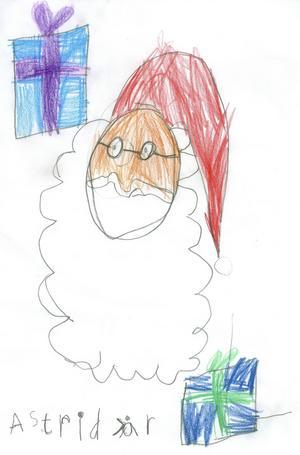 Astrid 7år från Valbo, har målat jultomten och några paket. God Jul!