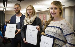 Johan Mårtensson, Magdalena Nowak och Marika Hoppare fick stipendier från Paul Brännströms fond för unga entreprenörer.