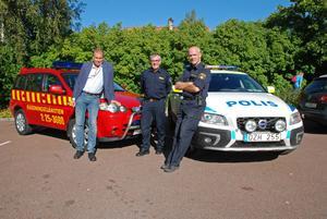 Inge Östlund (C), Rune Daniels och Lars Winther vill försöka få in alla Rättviks blåljus under samma tak.