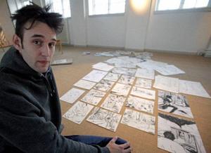 Robin Montelius målar regelbundet av sina drömmar, många av de bilderna har han med på utställningen som öppnar på Ahlbergshallen i dag.