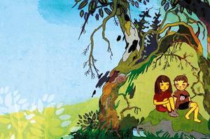 """Matilda Rutas illustrationer till Sofia Nordins berättelse """"Mirja och pojken i det rosa huset"""" är delvis gjorda i collageteknik. Hår och gräs kan till exempel utgå från fotografier."""