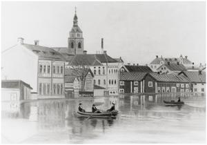Motiv av ån från Nybron söderut. Repro från målning av   A. Lindgren.Reprofoto Ö Hamrin.