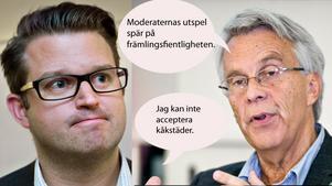 Anders Åhrlin (M) och Lennart Bondeson (KD) är inte överens om hur tiggerifrågan ska lösas. Bilden är ett montage