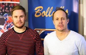 Marcus Sandberg, ordförande för Bollnäs Bandys sportsektion, och klubbchefen Robban Lindgren förklarar Bollnäs kovändning gällande Pär Törnberg.