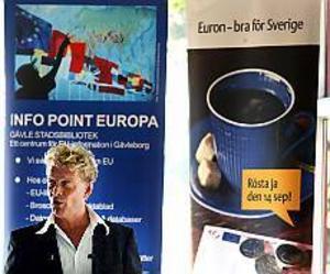 Foto: GUN WIGH Populär. Författaren Björn Ranelid argumenterade för EMU i Gävle.