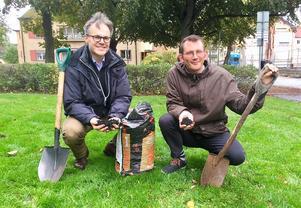 Meteorologen Martin Hedberg och brittiska miljökämpen Rob Hopkins tog ett symboliskt spadtag för miljön utanför Rudbecksskolan.