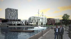 Så här vill Skanska bygga i Inre hamnen, precis ovanför småbåtshamnen. Till vänster syns hotellet som med 200 rum blir ett av stans största. Det cirka tio våningar höga tornet blir ett riktmärke. Bostadshusen kommer i första hand att innehålla bostadsrätter, men ambitionen är att det också ska bli hyresrätter i området.