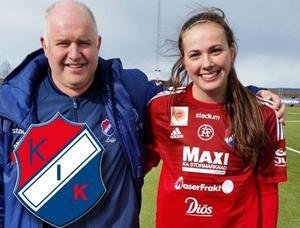 Målvaktstränaren Leif Fjägerås med Lina Lundqvist.