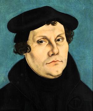 En bild föreställande Martin Luther som vännen och konstnären Lucas Cranach d.ä. målat.