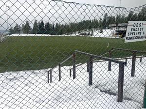 Så här grönt och fint är det på Skyttis konstgräsplan nu, men någon fotboll får inte spelas på planen ännu.