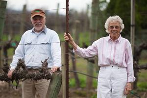 Eric berättar att när Olle och Sylvia köpte gården så odlades här kiwi, nu odlas här bland annat Cabernet Sauvignon-druvor att göra vin utav.