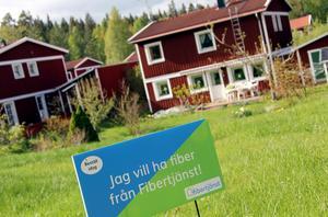 En ny aktör på fiber i Borlänge, har börjar skylta i Skräddarbacken.
