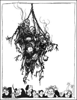 Hoppgroda bränner kungen och hans män till döds. Illustartion av Arthur Rackham från 1935.
