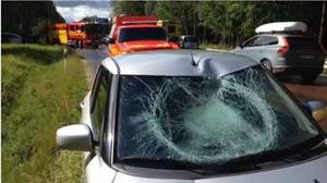 En bild från olyckan som Gunnar Bruhn (se artikeln ovan) var inblandad i sommaren 2014.