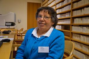 Elisabet Hemström, bibliotekarie på stadsbiblitoeket och medlem i Falubygdens släktforskarförening, var ansvarig för Släktforskningens dag i Falun under lördagen.