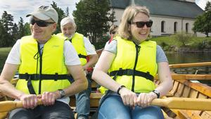 Glada roddare. Ulf Hugo, Nils-Olov Nilsson och Charlotta Wähner trånar inför lördagens tävling.