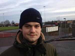Gustaf Gardell på Norrtälje IP under annandagsderbyt mellan Spillersboda och Norrtelje BF förra året.