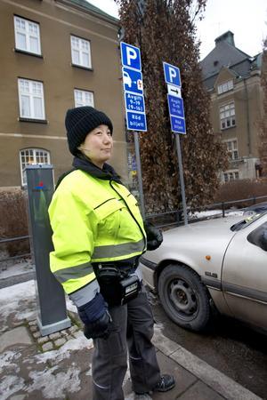 Bil och blixt. Anna Nordlöf vid en av de mest missförstådda skyltarna i Västerås – skylten för elbilsplats.