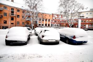 På måndagsmorgonen var snötäcket cirka 15 centimeter.