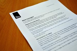 Brevet som skickades ut till Diös hyresgäster.