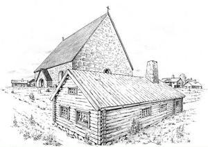 Vasaskolan 1569-1669. Skolbyggnaden i förgrunden med Heliga Trefaldighetskyrkan i bakgrunden. Rekonstruktion gjord av Ragnar Källander på grundval av tillgängligt källmaterial.