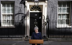 Theresa May höll idag ett tal på Downing Street i London.