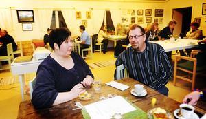 Karin Wiger och Magnus Lund höll i mötet för företagarföreningen i Arbrå på måndagskvällen.