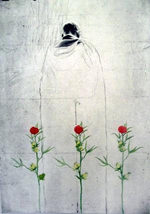 """Skickligt. Falugrafikern Jan Laggar visar sin första utställning i Gävle. Ovan """"Bön"""" med pålagt akvarellmåleri,  Laggar själv bakom """"Flykt"""" och detalj ur """"Silverkulan""""."""