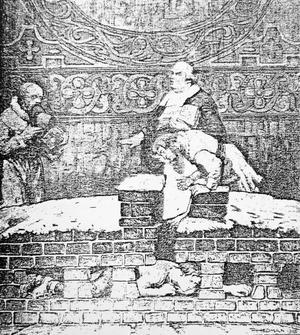 Så här ska huthålet ha sett ut. Bilden, som förmodligen är från Sahlstedts tid, publicerades i Borlänge Tidning år 1969, då Stora Tuna församling firade sin kyrkas 500 år.