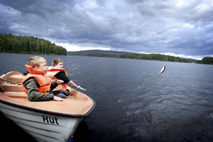 Det nappar. Emil, närmast i bild är en av de som får fisk med sig hem från lägret. En frys full av fisk är beviset på barnens och ungdomarnas fiskelycka. Foto:Karin Rickardsson