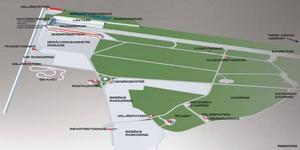 VISIONEN. Så här planeras området att se ut på sikt. Invigningen av Tierp Arena planeras till maj nästa år. Då ska tillräckligt mycket vara uppfört för att tävlingar i dragracing och hästsport ska kunna ordnas. Arenan är med sin utformning och storlek på 20 000 sittplatser unik i sitt slag i Sverige.