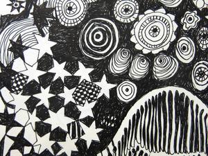 Teckning av Gunilla Rådström i ny utställning på Galleri Elixir.