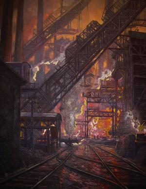 Typisk industrimiljö i Ruhr-området; målning från tidigt 1900-tal.