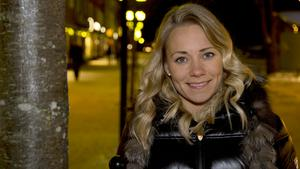 Frida Hansdotter kör storslalomen i OS under tisdagen.