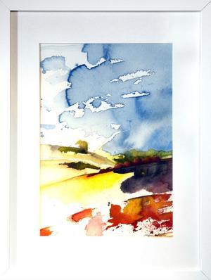 Kommer sol, akvarell av Helene Wallin.