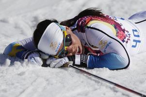 En trött Charlotte Kalla under vinter-OS 2014.
