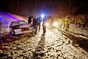 I den här olyckan vid Kånkbacken den 6 oktober förra året var tre personer inblandade och de klarade sig bra med det uppstod plåtskador.Foto: Ulrika Andersson