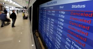 Många flyg till USA ställdes in på grund av stormen Sandy.