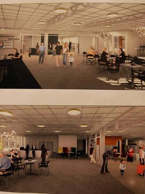 Kafé och bibliotek blir de permanenta verksamheterna i lokalerna. Här syns de arkitektritningar som presenterades på onsdagskvällen.
