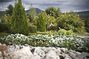 De blå bergen skapar en vacker fond till Margaretas trädgård.