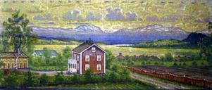 Föräldrarnas hus i Furutorp i stadsdelen Odenslund i Östersund här avbildat med Drommen i bakgrunden. Här var Linnborg folkbokförd 1909 efter faderns död samma år. Tavlan är i  privat ägo.