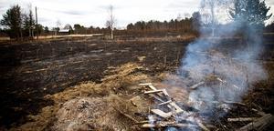 Räddningstjänsten larmades till Lock för årets första gräsbrand.