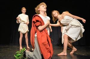 Dramatik. Senatorerna visar ingen nåd, och Julius Caesar (Oskar Malmrot) faller för deras svärd.