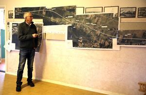 Ordförande för Sörmedsjöns byförening visar den nya sträckningen av E 45 genom Vångsgärde och Holen.