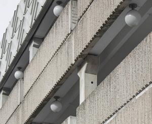 Domusvaruhuset visar ännu spår av sin betongbrutala ursprungsidé.   Foto: Ur boken