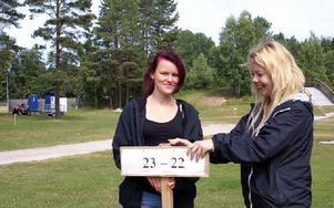Lina Haglund och Sofie  Trankell sätter upp skyltar  på IK Jarls parkering. Foto: Birgit Nilses Gröndahl
