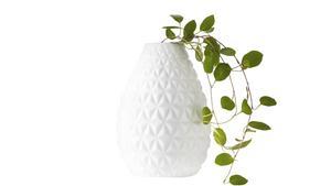 Porslinsvasen från Designtorget är användbar till små skott och lägre blommor. Pris 125 kronor.