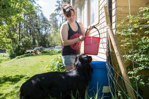 Som husägare med enskild brunn försöker Louise Gustafsson ha koll på hur mycket vatten hon förbrukar. För att bevattna grönsaksodling och trädgård försöker hon därför använda främst regnvatten.