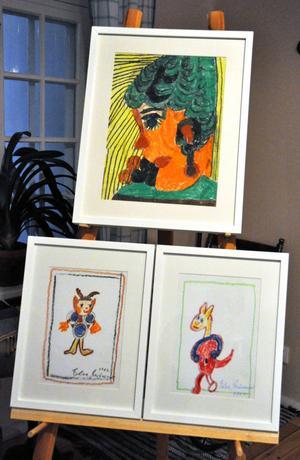Ett par av Elsa Grünewalds teckningar som kommer att ställas ut på Mentalvårdsmuseet i sommar.
