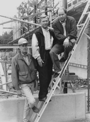 Arne Ekström, Göran Hansson och Ulf Isaksson på plats vid bygget.